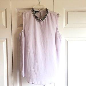 Jeweled Neckline Sleeveless Tunic Blouse